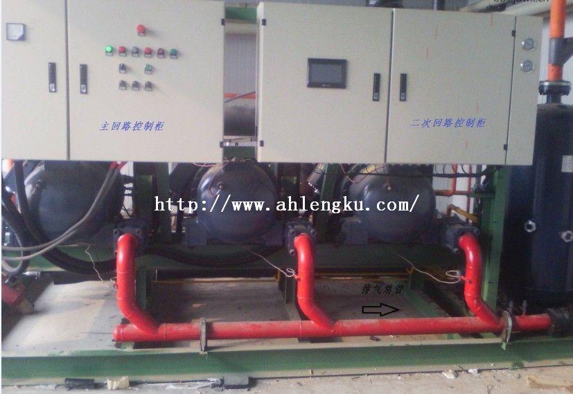 安庆市3*125匹汉钟螺杆并联机组冷库设备安